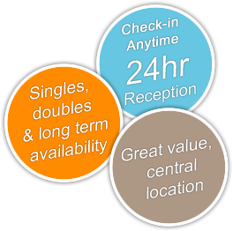 Singles, doubles & long term availabilty; check-in anytime, 24 hr reception; Great value, central location.